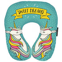 """Дорожная подушка """"Sweet dreams"""" Presentville подушка для путешествий отличный подарок бархатистая ткань дорожная подушка-рогалик с полноцветным"""