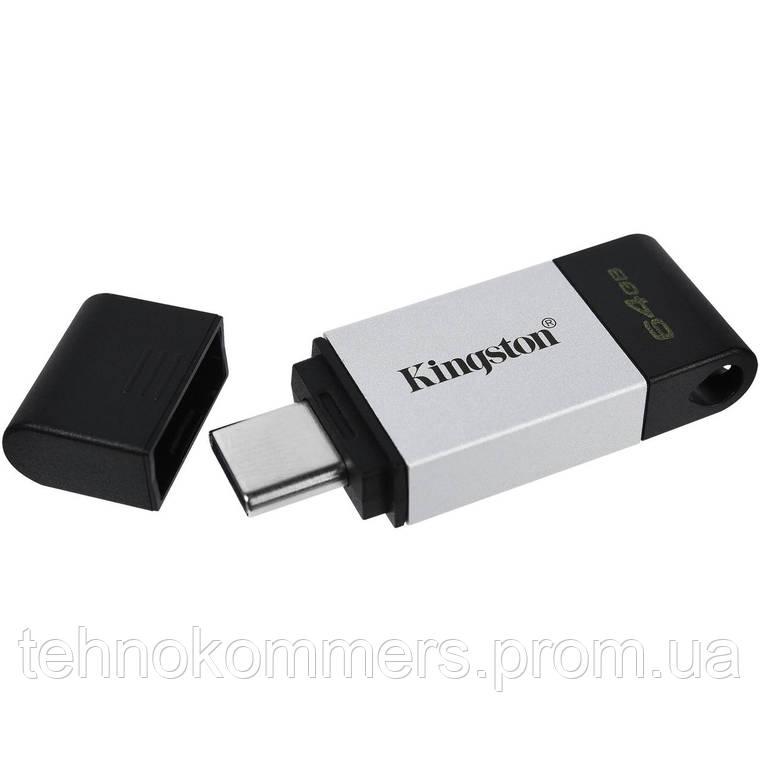 Флеш-накопичувач Kingston USB3.2 DT 80 64GB Silver-Black, фото 2
