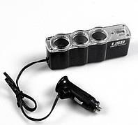 Автотройник + USB 12/24V прикуриватель зарядка, фото 1