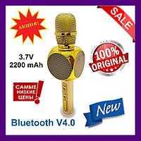 Беспроводной караоке микрофон YS-63 со встроенной Bluetooth мини колонкой золотой., фото 1