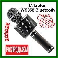 Микрофон караоке ws 858 Original Black (Черный). Wester ws 858. Портативный блютуз микрофон вестер 858, фото 1