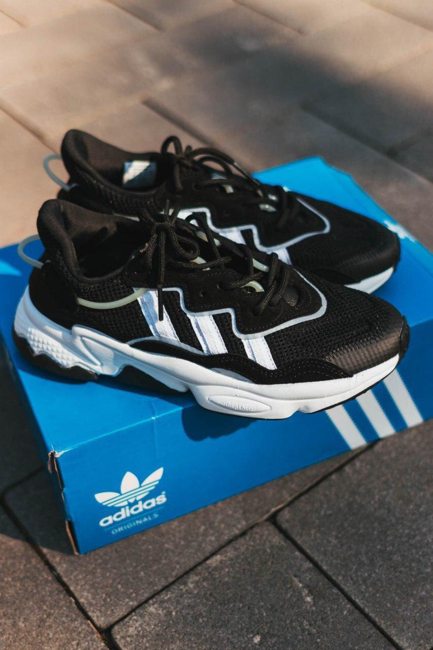 Мужские кроссовки в стиле Adidas Ozweego (Black/White), Адидас Озвиго (Реплика ААА)