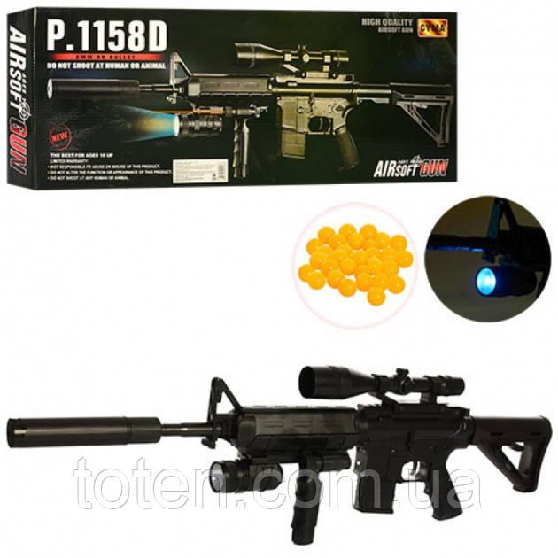 Іграшковий Автомат P. 1158D з глушником копія гвинтівки М16, на пульках, лазер, ліхтарик Т