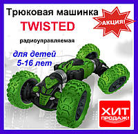 Машинка-перевертыш TWISTED. Зеленая 34 см. Радиоуправляемая трюковая машинка-перевертыш, фото 1