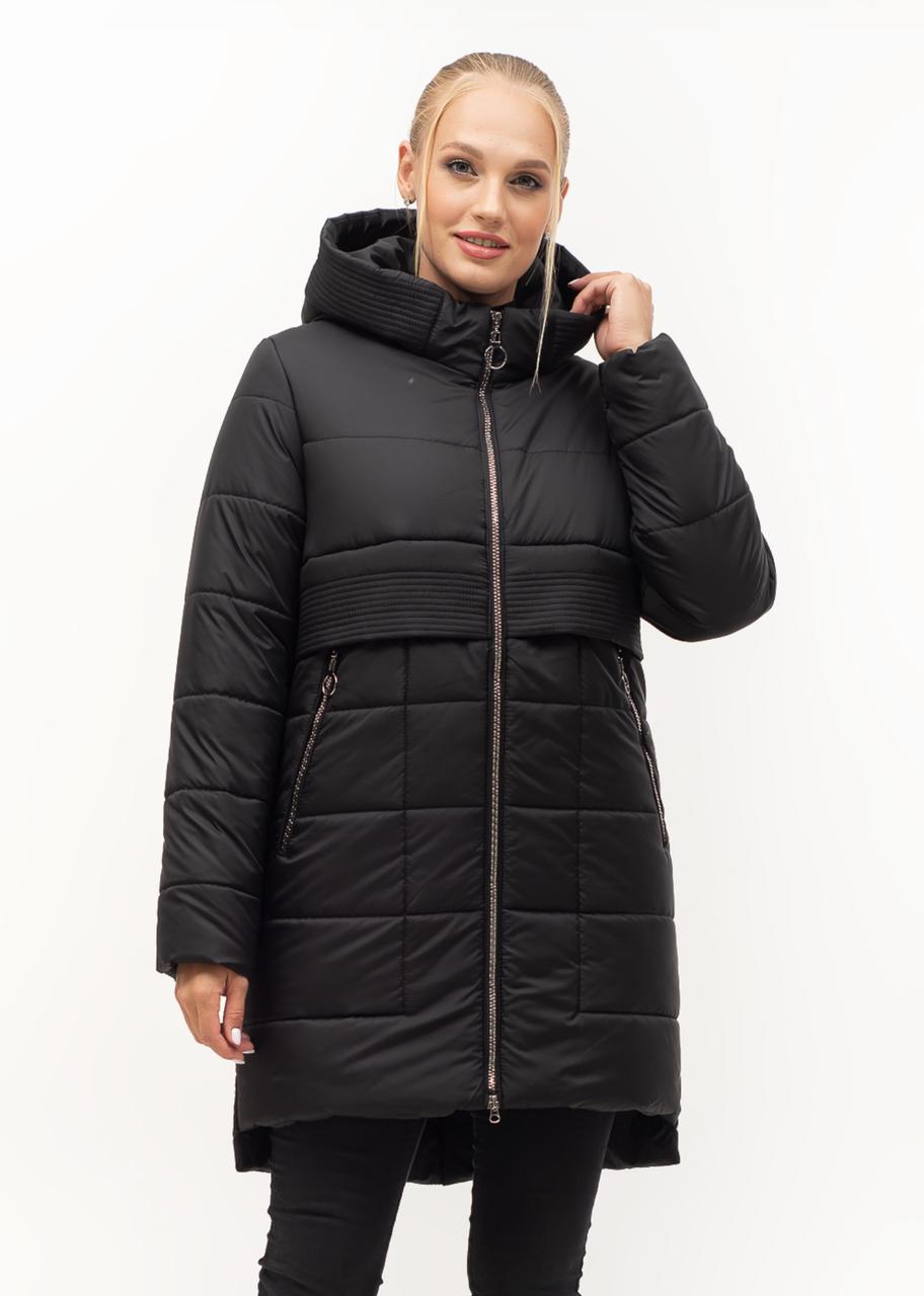 Черная молодежная зимняя куртка с капюшоном