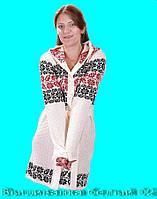 Белая женская вязаная кофта. Вышиванка  белый 02