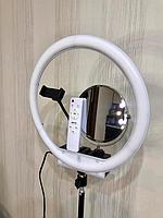 Кольцевая светодиодная лампа визажиста/для макияжа с зеркалом диаметр 35 см