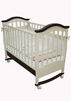 Детская кроватка Соня ЛД 3 маятник + шухляда  (слоновая кость-орех)