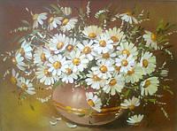 Картины художников. Живопись маслом цветы Ромашки (картина с ромашками, картина маслом ромашки)