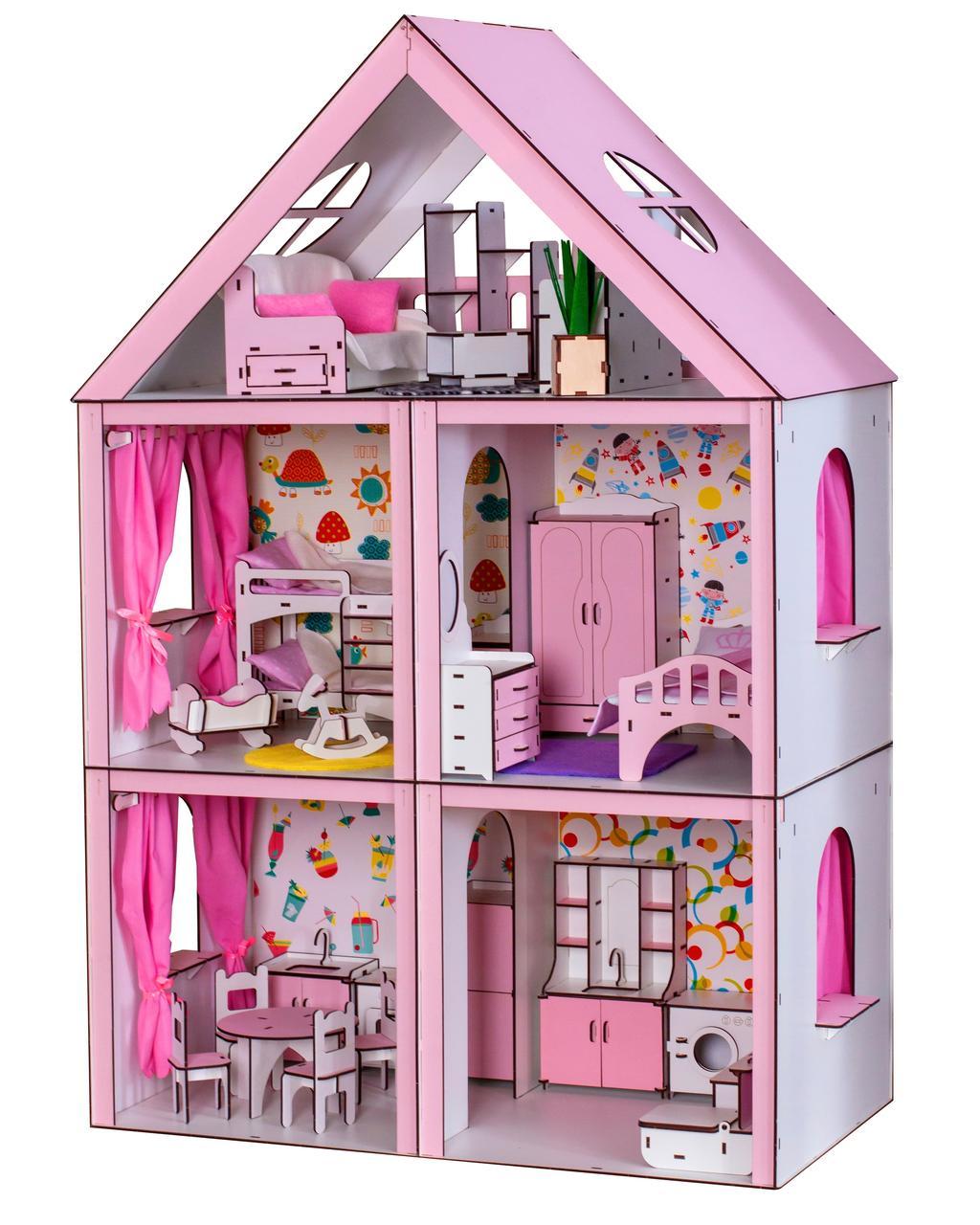 Домики для больших куколДомик «Большой Особняк Барби» + обои + шторки + мебель + текстиль высота этажа - 33 см