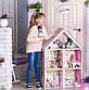 Домики для больших куколДомик «Большой Особняк Барби» + обои + шторки + мебель + текстиль высота этажа - 33 см, фото 2