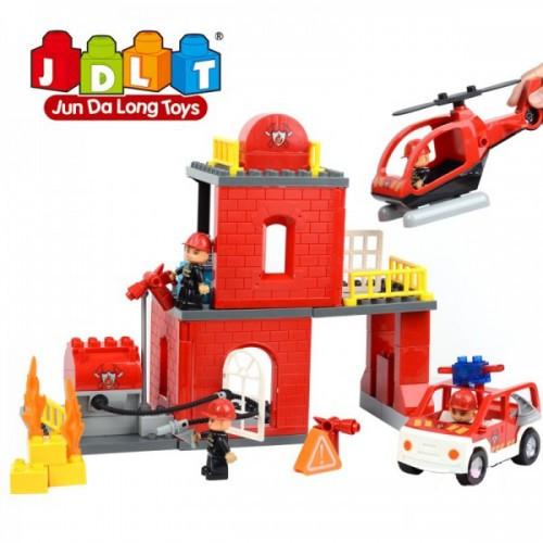 Конструктор JDLT 5155 Пожарная станция, 63 деталей