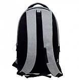 Стильный мужской серый рюкзак городской, повседневный, для ноутбука 15,6 матовая эко-кожа, фото 2
