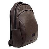 Стильный мужской серый рюкзак городской, повседневный, для ноутбука 15,6 матовая эко-кожа, фото 8