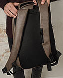 Стильный мужской серый рюкзак городской, повседневный, для ноутбука 15,6 матовая эко-кожа, фото 9