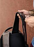 Стильный мужской серый рюкзак городской, повседневный, для ноутбука 15,6 матовая эко-кожа, фото 10