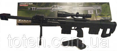 Снайперская винтовка с прицелом на триноге, фонарик, лазер и пистолет CYMA P.1161 пули 6мм