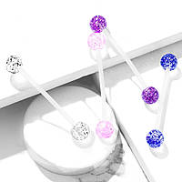 Пірсинг в пупок для вагітних «Сяючий» від Spikes - колір синій, фото 1