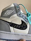 Женские кроссовки Dior X Nike Air Jordan PA257 бело-серые, фото 3