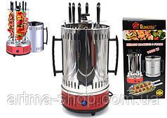 Электрошашлычница Красная Domotec Мощность 1000 Ватт, 6 шампуров нержавейка BBQ