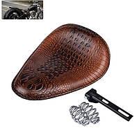 Комплект соло сиденье Bobber Seat Brown (крокодиловая кожа \ Заменитель)
