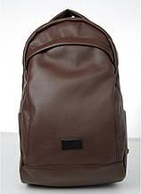 Мужской коричневый рюкзак классический, офисный, деловой, для ноутбука матовая экокожа