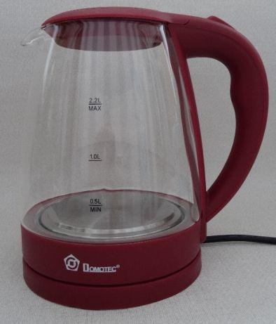 Электрочайник стеклянный Domotec MS-8213 на 2.2 литра Бордовый с LED подсветкой