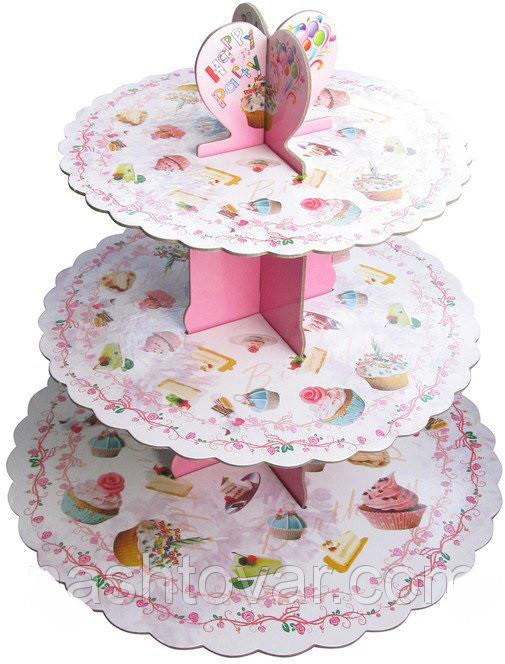 Стенд трёхъярусный картонный круглый для капкейков светло розового цвета (шт)