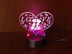 3D Светильник Сердце Love, фото 2
