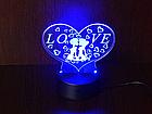 3D Светильник Сердце Love, фото 3