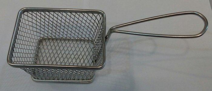 Корзинка { фритюрница} нержавеющая прямоугольная для подачи блюд 110*85*70 мм (шт)