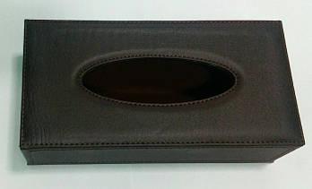 Шкіряна замшева коричнева коробка для серветок 240*120*65 мм (шт)