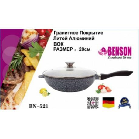 Benson BN-521 Сковорода литая с крышкой (28*7 см)