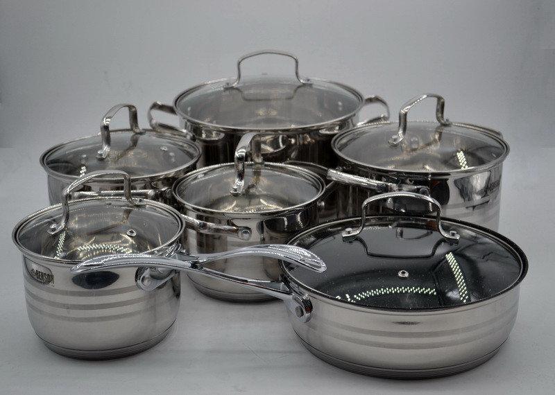 Набор кастрюль+ковш+сковорода из нержавеющей стали из 12 предметов Benson многослойное дно