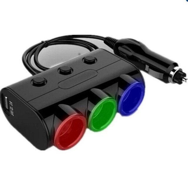 Автомобильный тройник HZ-D21 на 3 гнезда +2 USB
