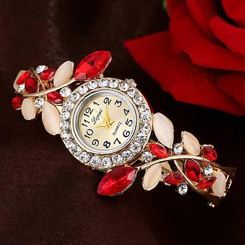 Годинник-браслет наручні жіночі з кристалами код 625