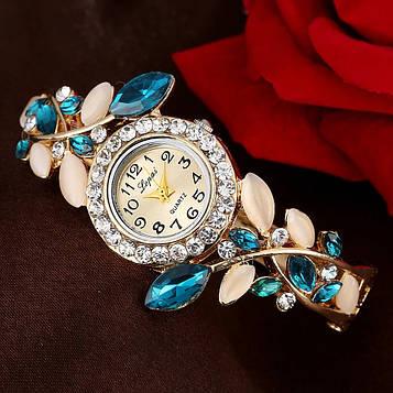 Годинник-браслет наручний жіночий з кристалами код 625