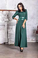 Длинное платье с кожзам поясом 3 цвета