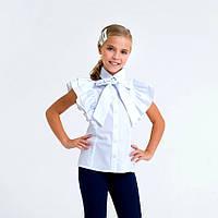 Блуза для девочки с коротким рукавом, белая (114752), Smil (Смил) 140 (10 лет) р. Белый