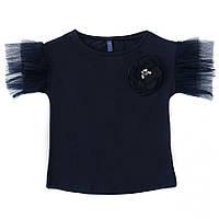 Блуза для девочки с коротким рукавом, темно-синяя (114714), Smil (Смил) 140 (10 лет) р. Темно-синий