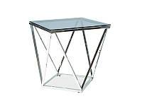 Журнальный кофейный столик из стекла+металл в гостинную SILVER B прозрачный/серебряный