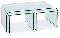 Журнальный кофейный столик из стекла в гостинную PRIAM A прозрачный