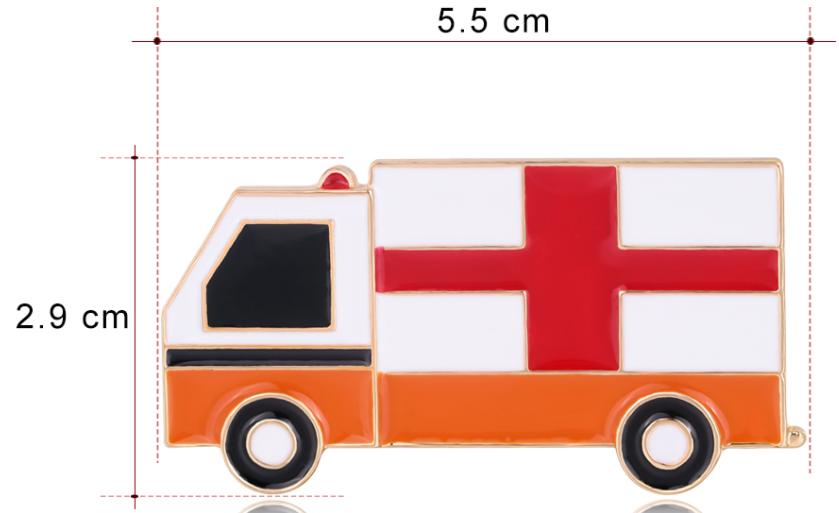 Брошка брошка машина швидка допомога знак значок емаль 5.5 см на 3 см