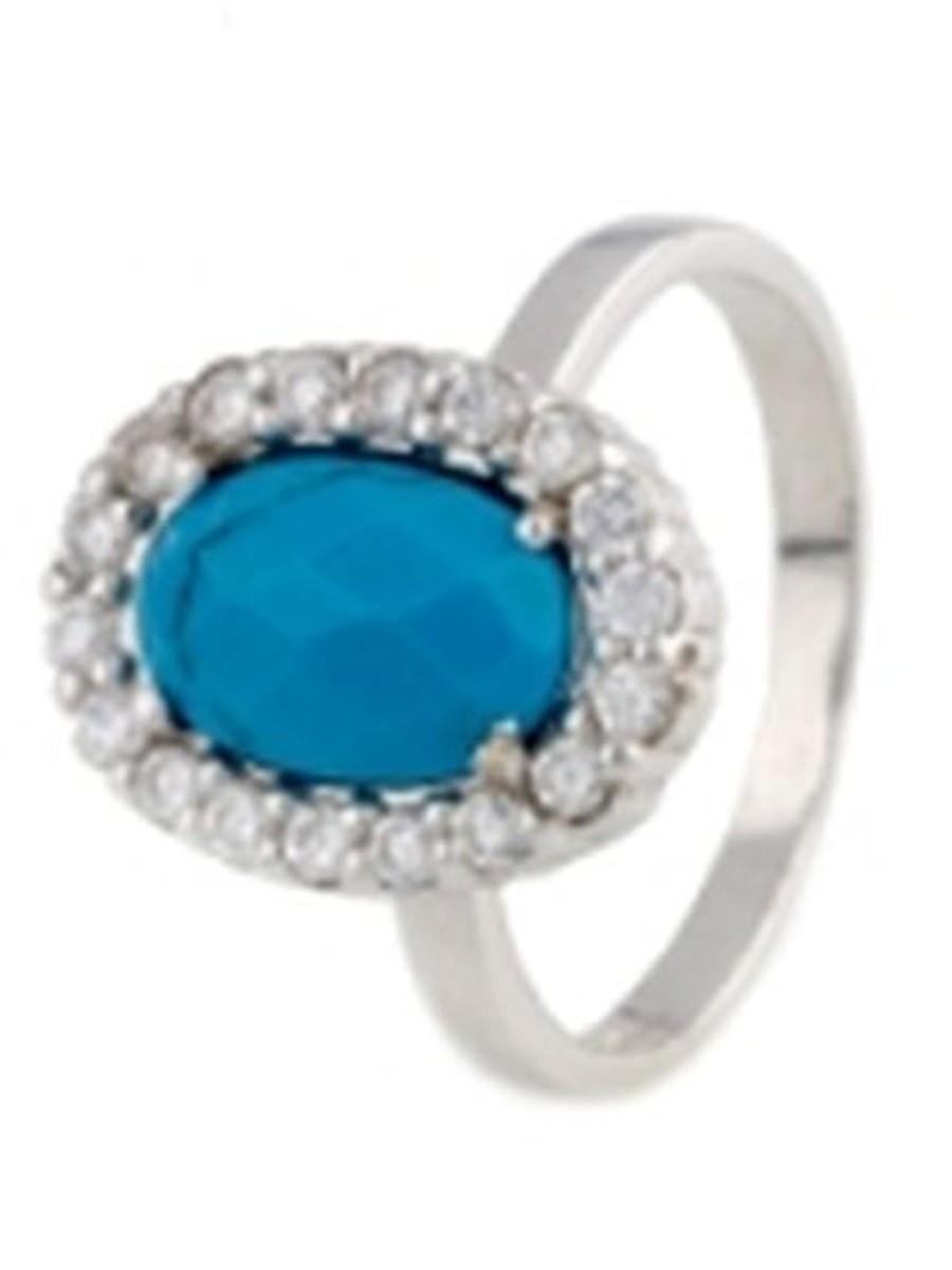 Серебряное кольцо pSilverAlex с натуральной бирюзой (0165479) 17 размер