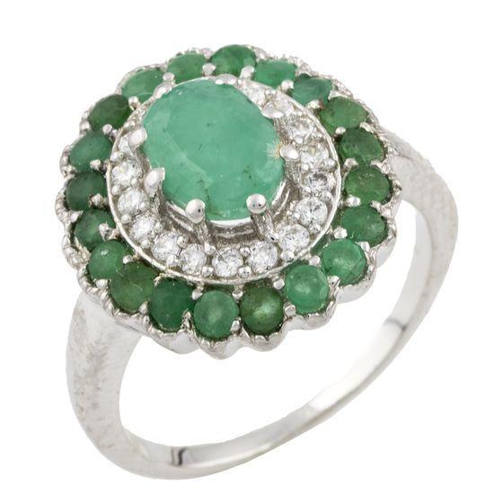 Серебряное кольцо pSilverAlex с натуральным изумрудом (0466385) 18 размер
