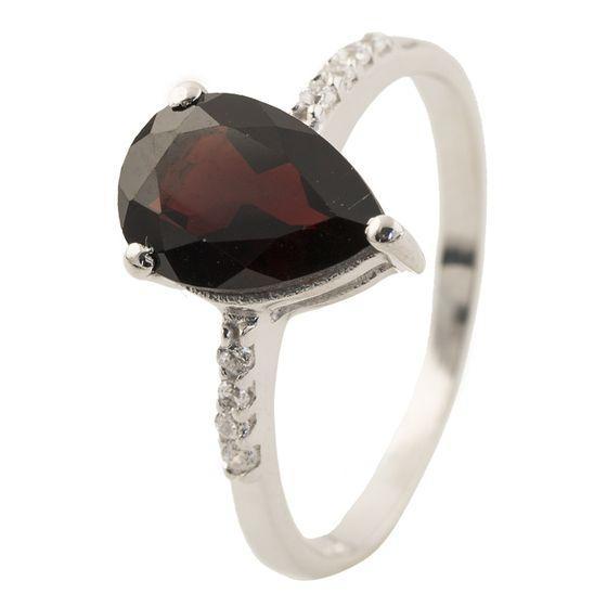 Серебряное кольцо pSilverAlex с натуральным гранатом (0504704) 17 размер