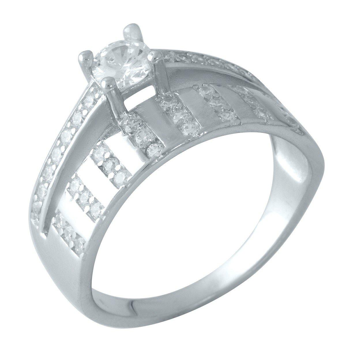 Серебряное кольцо pSilverAlex с фианитами (0828459) 18 размер
