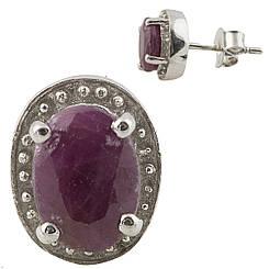 Серебряные серьги pSilverAlex с натуральным рубином (0804064)
