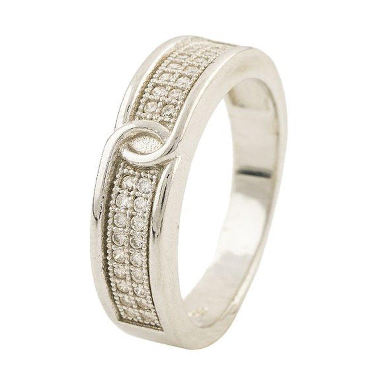 Серебряное кольцо pSilverAlex с фианитами (0497228) 17.5 размер