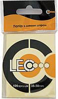 Бумага с липким слоем 38*50мм желт. 100л L1205 Leo
